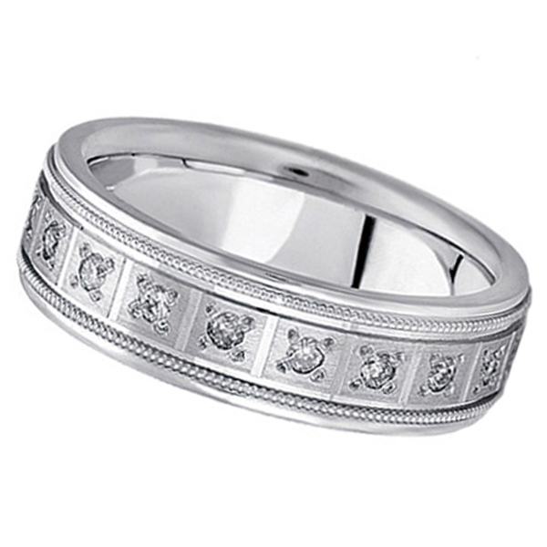 Diamond Wedding Band for Men in a Pave Setting 14k White Gold (0.40 ctw)