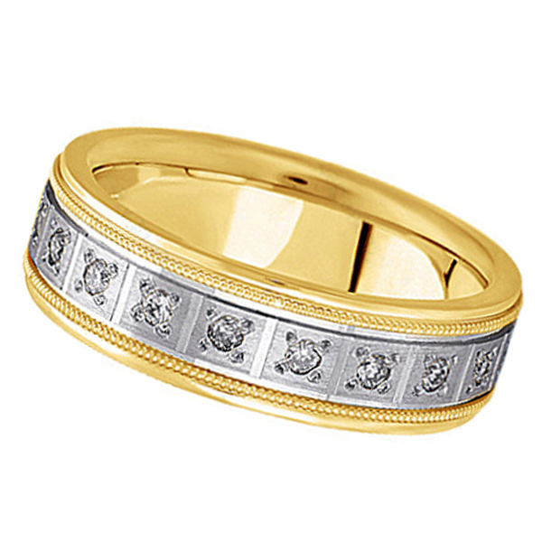 Pave-Set Diamond Wedding Band in 14k Two Tone Gold for Men (0.40 ctw)