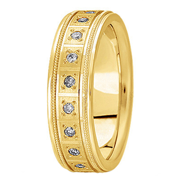 Pave-Set Diamond Wedding Band in 14k Yellow Gold for Men (0.40 ctw)