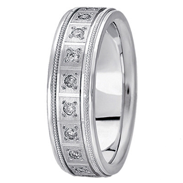 Pave-Set Diamond Wedding Band in 18k White Gold for Men (0.40 ctw)
