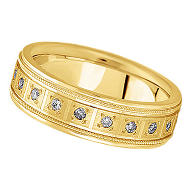 Pave-Set Diamond Wedding Band in 18k Yellow Gold for Men (0.40 ctw)