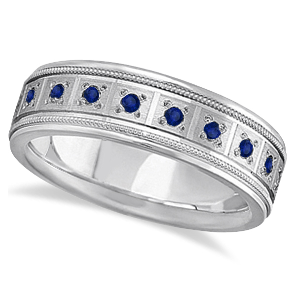 Blue Sapphire Ring for Men Wedding Band 18k White Gold (0.80ctw)