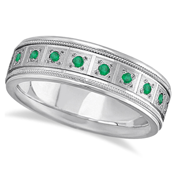 Emerald Ring for Men Wedding Band 14k White Gold (0.80ctw)