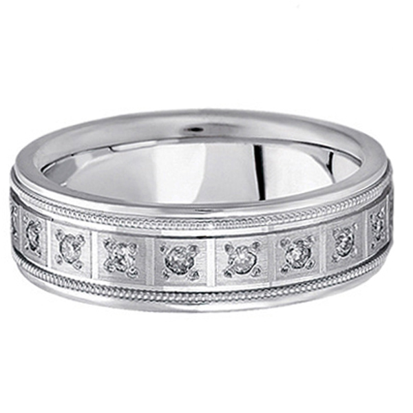 Pave Set Diamond Wedding Band In Palladium For Men Ctw Allurez
