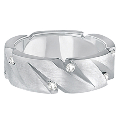 Mens Pointed Groove Diamond Wedding Ring Band 18k White Gold (0.50ct)