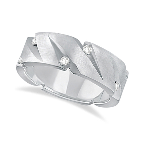 Mens Pointed Groove Diamond Wedding Ring Band Palladium (0.50ct)