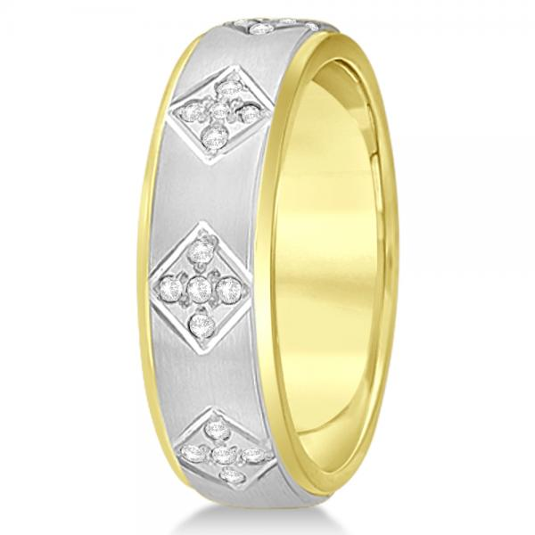 Unisex Diamond Wedding Ring Wide Band 14k Two-Tone Gold 7mm (0.60ct)