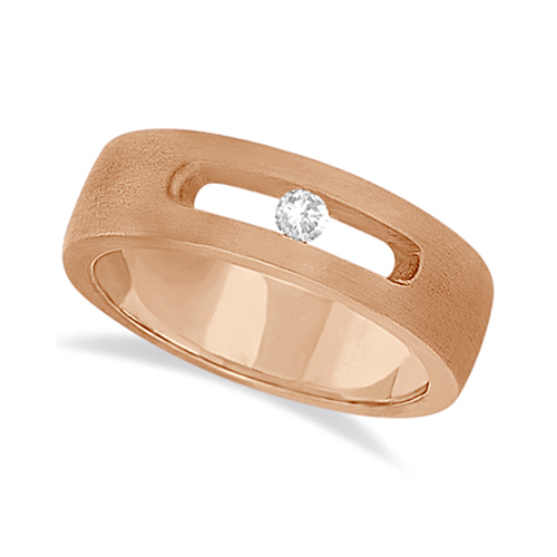 Diamond Solitaire Wedding Band For Men 18k Rose Gold (0.10ct)