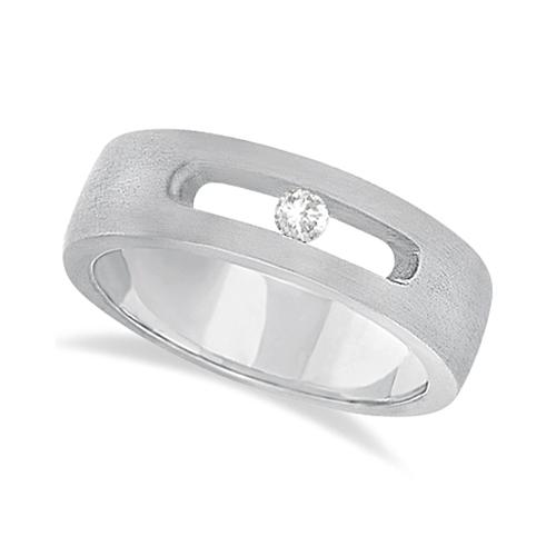 Diamond Solitaire Wedding Band For Men 18k White Gold (0.10ct)