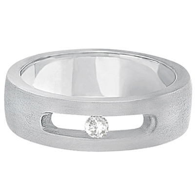 Channel Set Diamond Solitaire Wedding Band For Men Palladium (0.10ct)