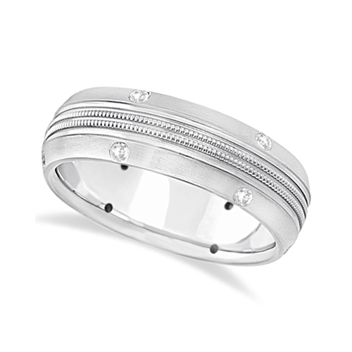 Mens Double Milgrain Diamond Wedding Ring Band 14kt White Gold (0.25ct)