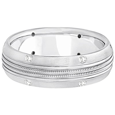 Mens Double Milgrain Diamond Wedding Ring Band Palladium (0.25ct)