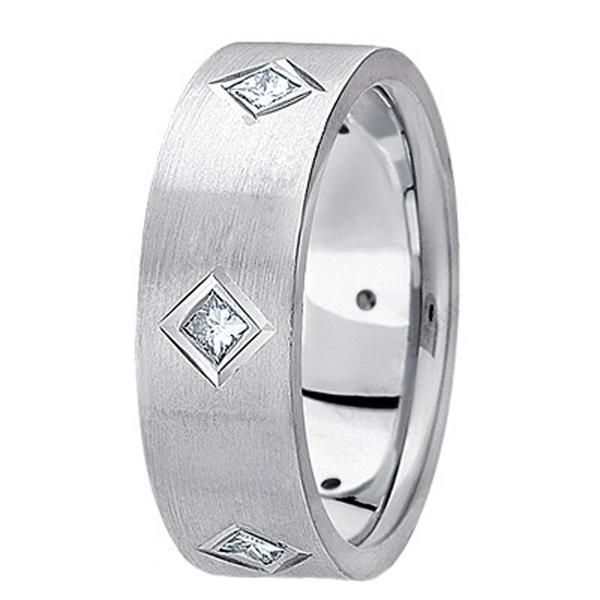 Princess Cut Diamond Wedding Band in 14k White Gold (0.60 ctw)