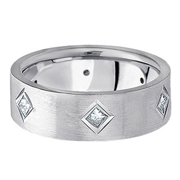 Princess Cut Diamond Wedding Band in 18k White Gold (0.60 ctw)
