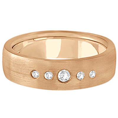 Mens Five-Stone Diamond Wedding Band 14k Rose Gold (0.25ct)