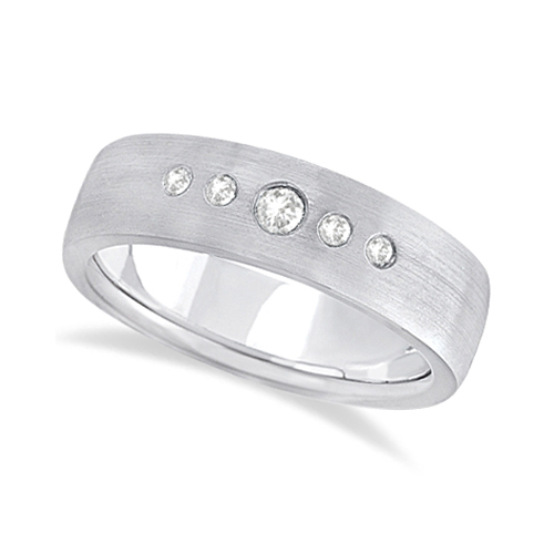 Mens Five-Stone Diamond Wedding Band Palladium (0.25ct)