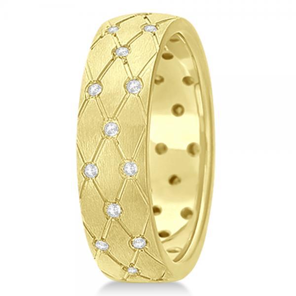 Diamond Zig Zag Wedding Ring Wide Band 14k Yellow Gold 7mm (0.45ct)