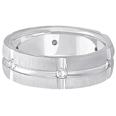 Mens Groove Diamond Wedding Ring Band 14k White Gold (0.30ct)