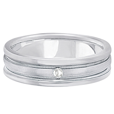 Mens Engraved Diamond Solitaire Wedding Band 18k White Gold (0.05ct)