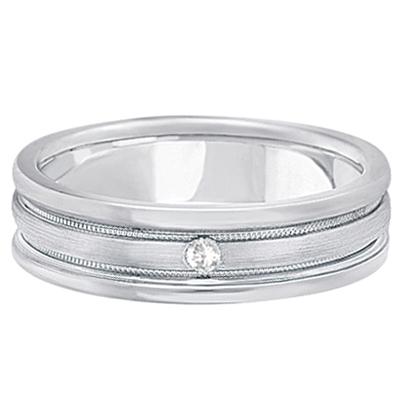 Mens Engraved Diamond Solitaire Wedding Band Palladium (0.05ct)