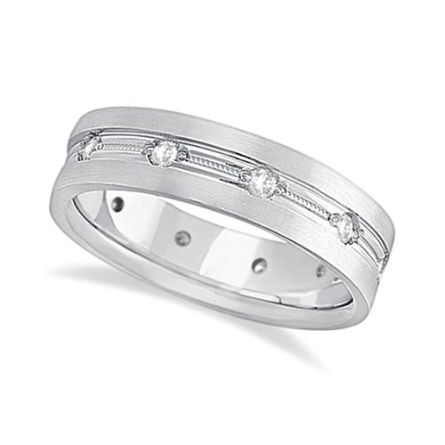 Mens Milgrain Engraved Diamond Wedding Band Ring 18k White Gold (0.50ct)