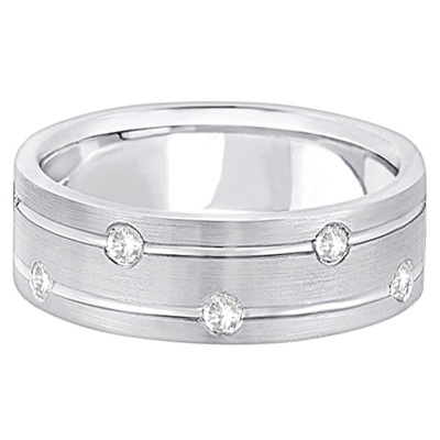 Mens Wide Band Diamond Wedding Ring w/ Grooves 14k White Gold (0.40ct)