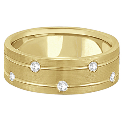 Mens Wide Band Diamond Wedding Ring w/ Grooves 14k Yellow Gold (0.40ct)