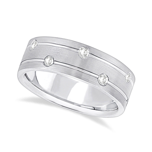 Mens Wide Band Diamond Wedding Ring w/ Grooves Palladium (0.40ct)