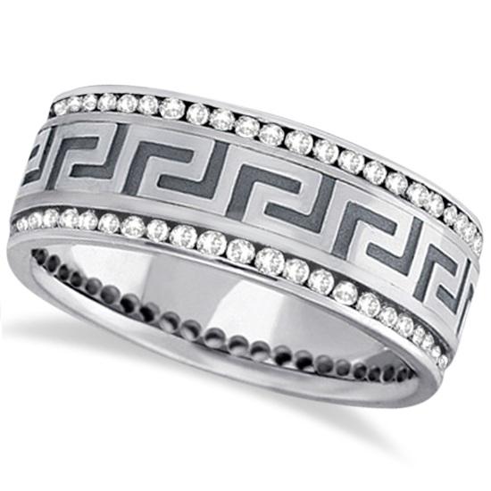 Channel-Set Diamond Wedding Ring Band For Men 14k White Gold (1.50ct)