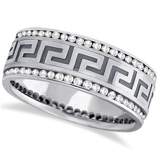Channel-Set Diamond Wedding Ring Band For Men Palladium (1.50ct)