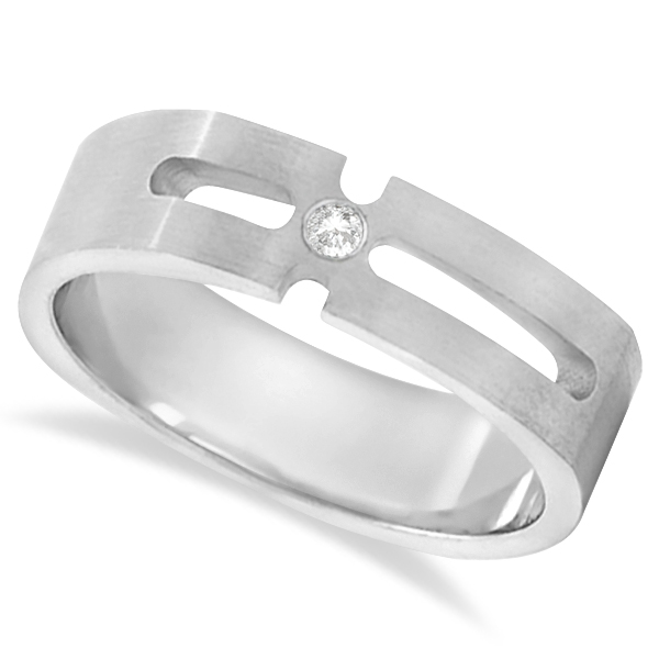 Contemporary Solitaire Diamond Band For Men 18kt White Gold (0.05ct)