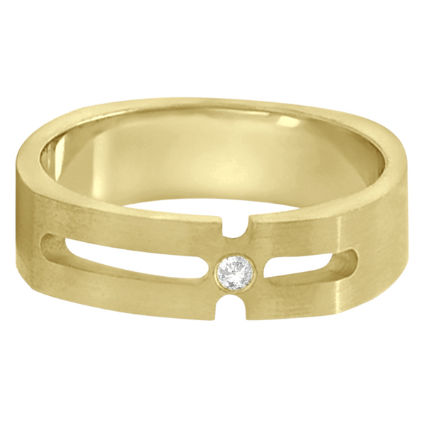 Contemporary Solitaire Diamond Ring For Men 18kt Yellow Gold (0.05ct)