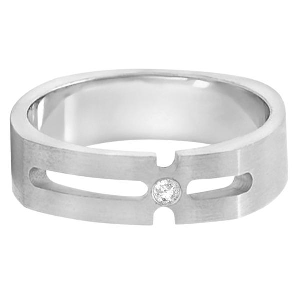Contemporary Solitaire Diamond Ring For Men Platinum(0.05ct)