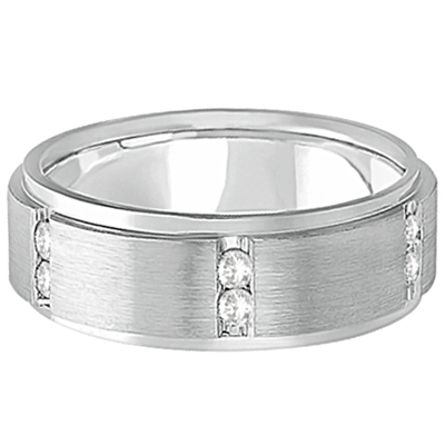 Mens Channel Set Wide Band Diamond Wedding Ring 18k White Gold (0.50ct)