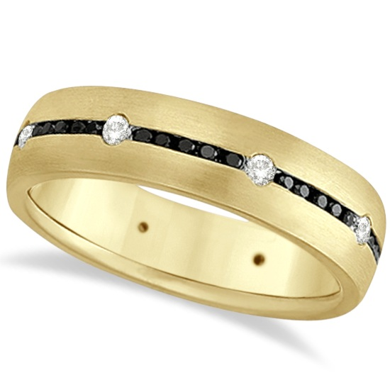 Black & White Diamond Wedding Ring Men's Band 14k Yellow Gold (0.70ct)