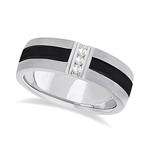 Mens Black Rhodium Striped Diamond Wedding Band Palladium (0.10ct)
