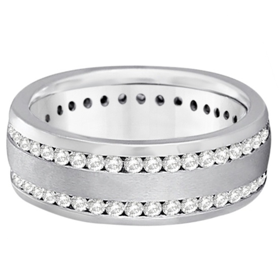 Channel-Set Diamond Wedding Ring Band For Men 14k White Gold (1.75ct)