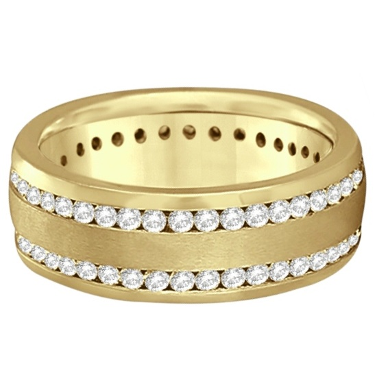 Channel-Set Diamond Wedding Ring Band For Men 14k Yellow Gold (1.75ct)