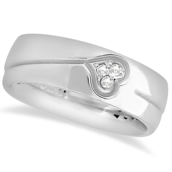 Diamond Accented Heart Design Wedding Band 14k White Gold (0.045ct)