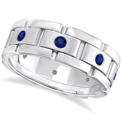 mens blue sapphire wedding ring wide band 18k white gold - Sapphire Wedding Ring