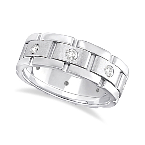Mens Wide Band Diamond Eternity Wedding Ring 18kt White Gold (0.40ct)