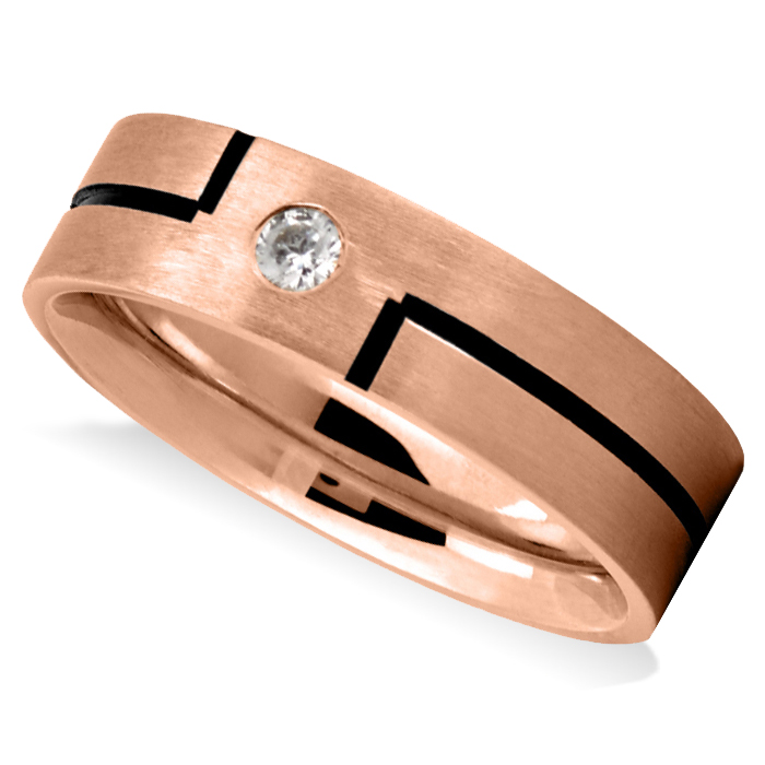 e0f285310f033 Burnished & Satin Diamond Mens Wedding Band Ring 14K Rose Gold (0.08 ct)