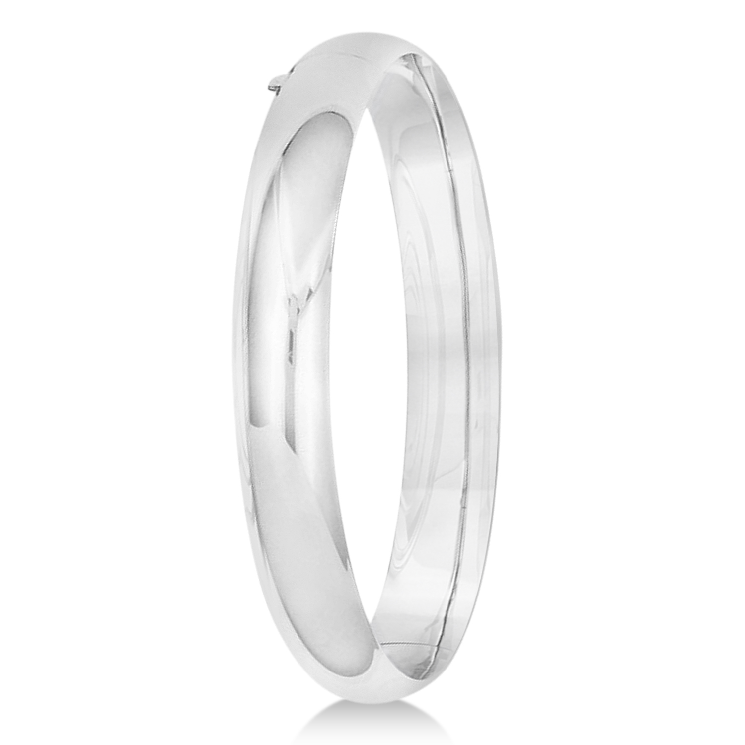 High Polished Hinged Stackable Wide Bangle Bracelet 14k White Gold