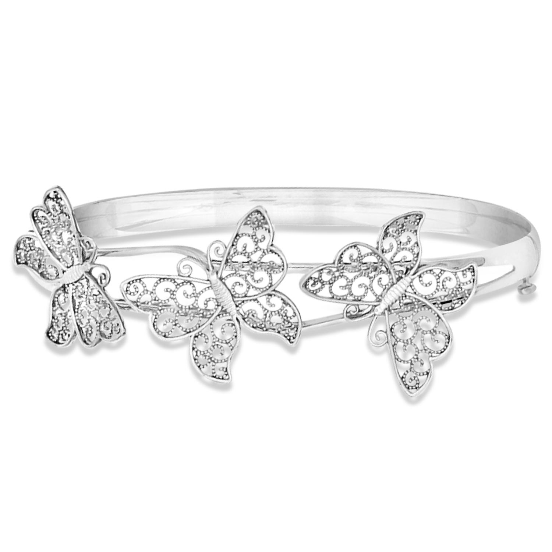 Butterfly Bangle Bracelet Plain Metal 14k White Gold