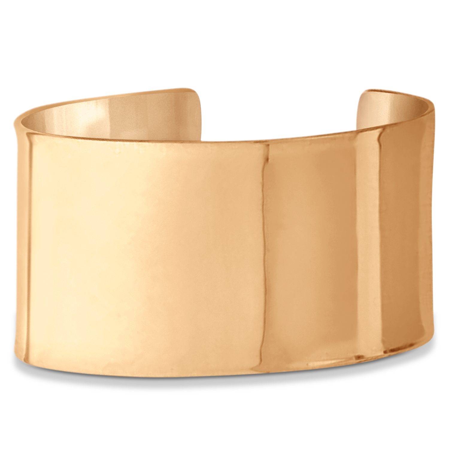 High Polish Wide Cuff Bangle Bracelet 14k Rose Gold 37mm