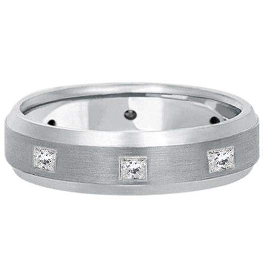 Princess-Cut Diamond Ring Wedding Band For Men 14k White Gold (0.50ct)