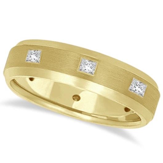 Princess-Cut Diamond Ring Men's Wedding Band 14k Yellow Gold (0.50ct)