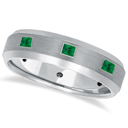 Princess-Cut Emerald Ring for Men Wedding Band 14k White Gold (0.80ct)