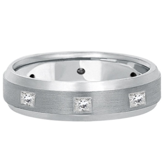 Princess-Cut Diamond Ring Wedding Band For Men in Palladium (0.50ct)