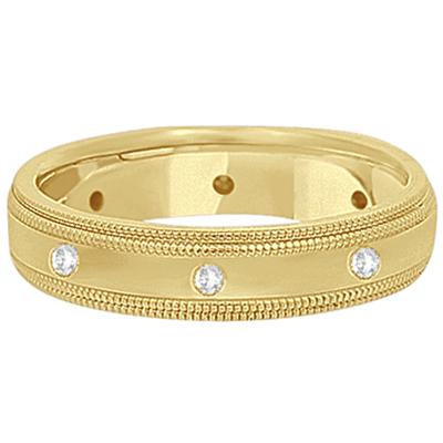 Mens Engraved Diamond Wedding Ring Band 18k Yellow Gold (0.15ct)